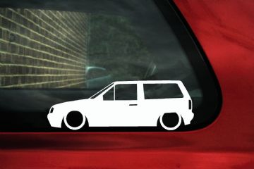 2x Low car outline stickers - for Volkswagen VW Polo Mk2F Breadvan / squareback wagon kombi